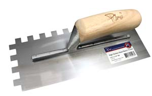 Primo High Carbon Steel Notch Trowel With Wood Handle