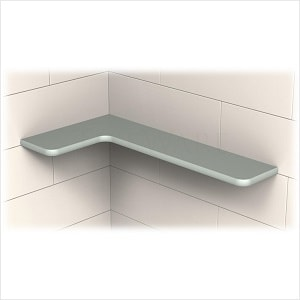 TileWare Boundless Series L-Shaped Dove Grey Corner Shelf